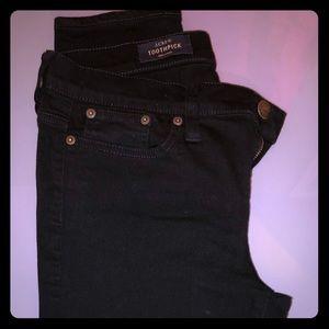 JCrew Black Toothpick Jean in Excellent Condition